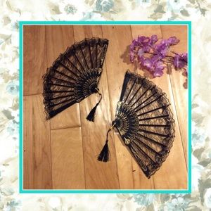 Accessories - 🌸 NEW 2PC FANS BLACK LACE TASSEL SHEER FLORAL GOLD